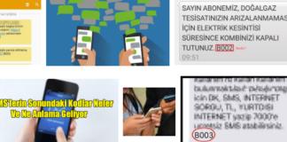 Mesajın sonundaki B001, B002, B003 kodların anlamı nedir
