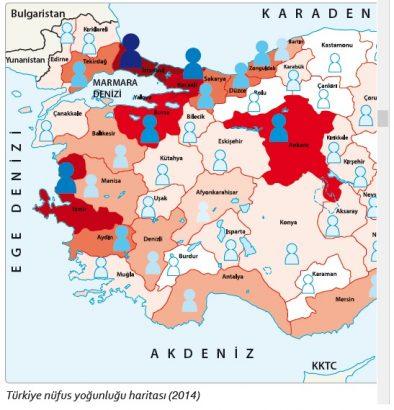 Türkiye'de nüfus yoğunluğu haritası